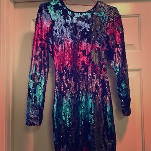 Nasty Gal multi colored sequin cocktail dress